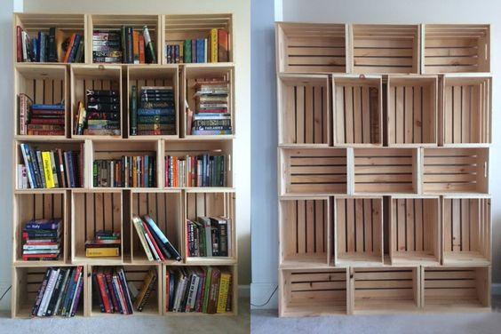 стеллаж для книг из деревянных ящиков
