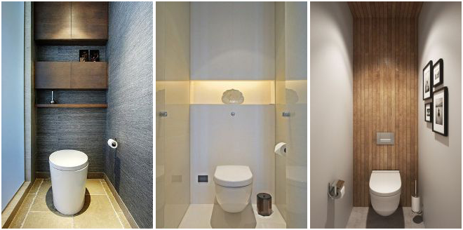 Коллаж фотографий необычных туалетных комнат