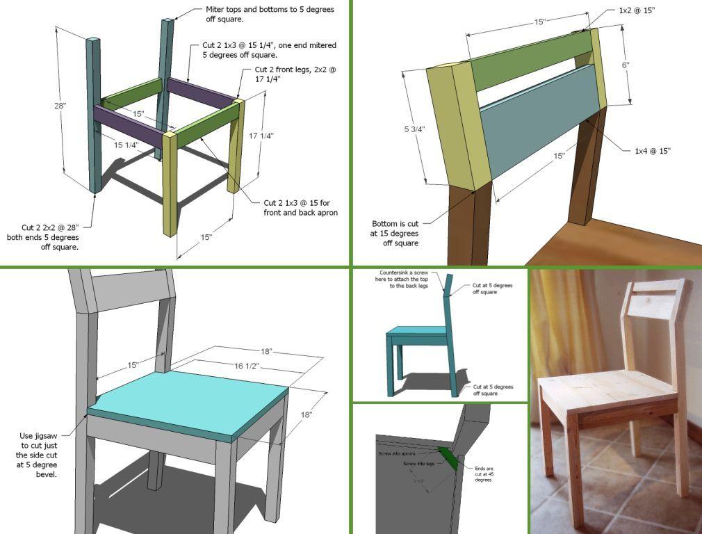 Эскиз и чертежи еще одного самодельного стула