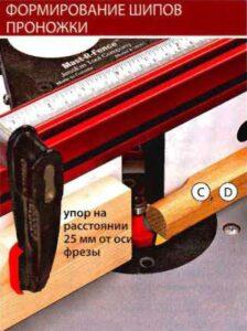 Формирование шипов проножки