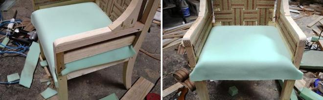 Кладем тонкий поролон на кресло