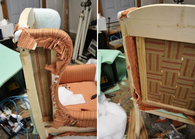 Обшивка тканью боков кресла снаружи