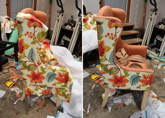 Обшивка тканью боковины кресла
