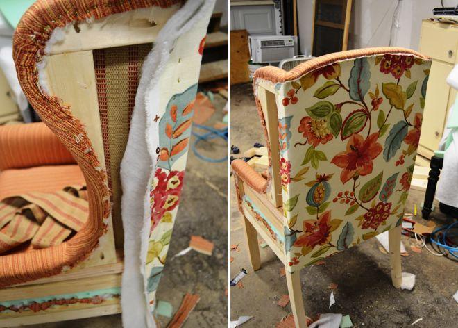Рабочий шов обшивки кресла