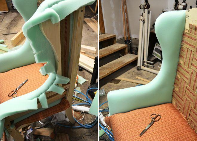 Укладка поролона в бока кресла