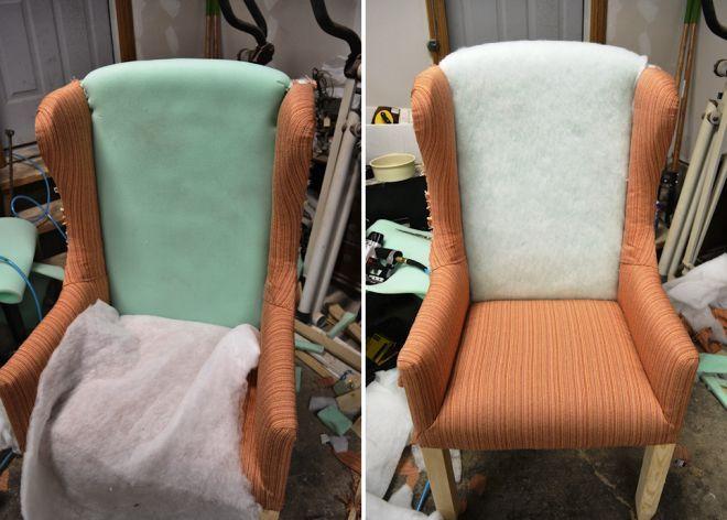 Укладка синтепона в спинку кресла