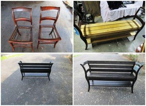 скамья из стульев