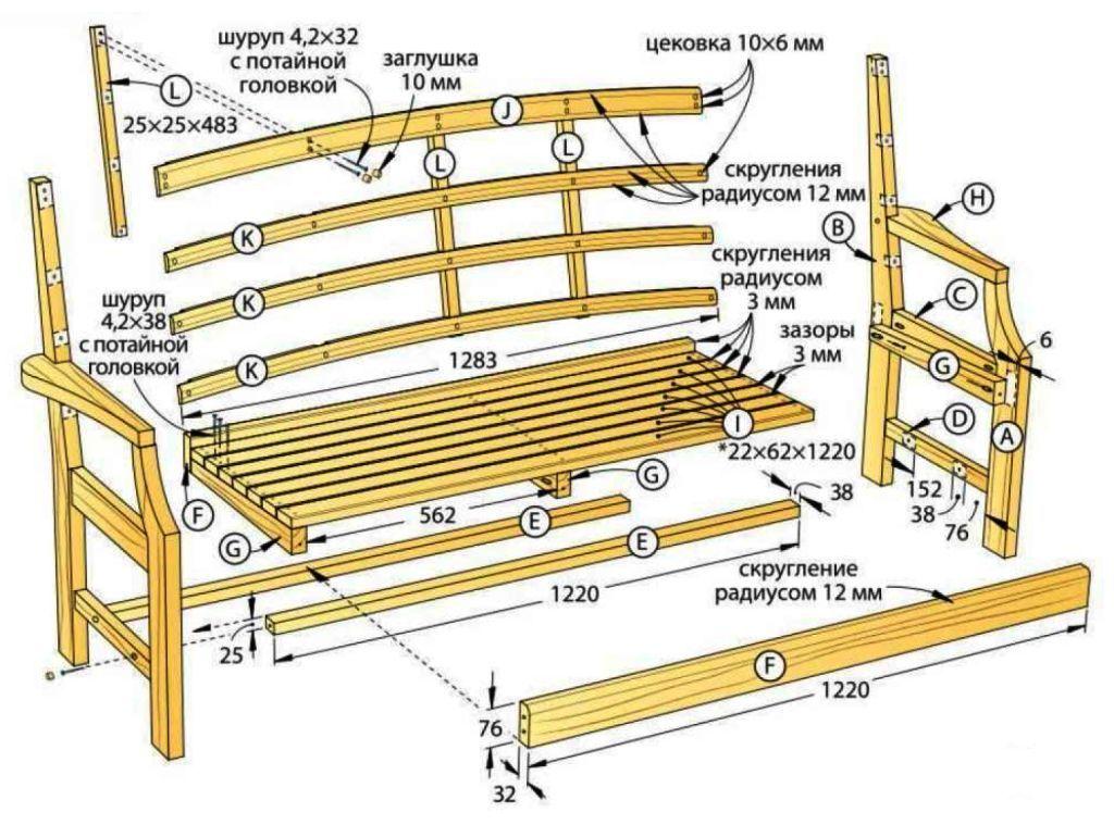 Детальный вид скамейки со спинкой