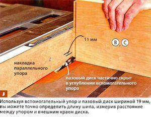 Формирование плечиков шипов