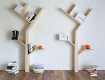 Книжная полка в виде дерева, прекрасная альтернатива скучным полкам.
