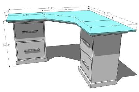 Чертеж углового комрьютерного стола