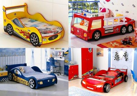 Деревянная кровать для детской комнаты в виде машинки - мечта любого мальчишки